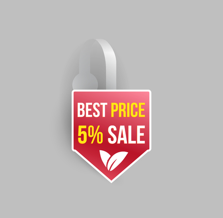 advertising wobbler: Vector red arrow shape wobbler mockup with transparent strip and grey background. Sale message template for your hanging shelf tag design.