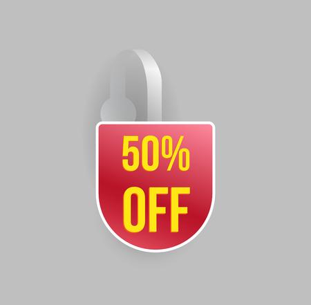 advertising wobbler: Vector red wobbler mockup with transparent strip and grey background. Sale message template for your hanging shelf tag design. Illustration