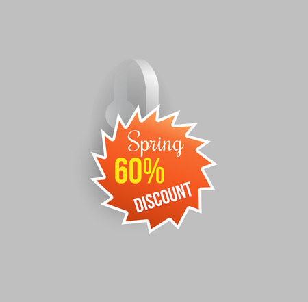 advertising wobbler: Vector orange wobbler shape mockup with transparent strip and grey background. Sale message template for your hanging shelf tag design. Illustration