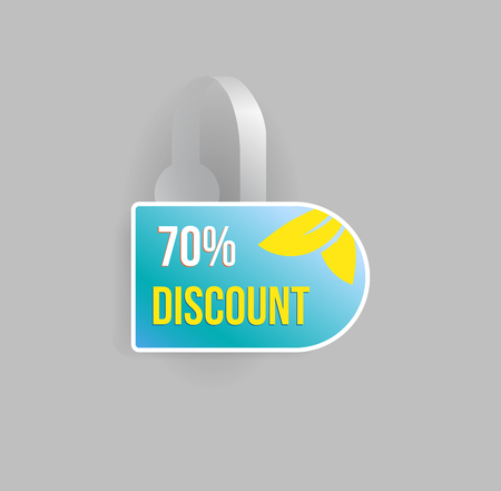 advertising wobbler: Vector blue wobbler mockup with transparent strip and grey background. Sale message template for your hanging shelf tag design.