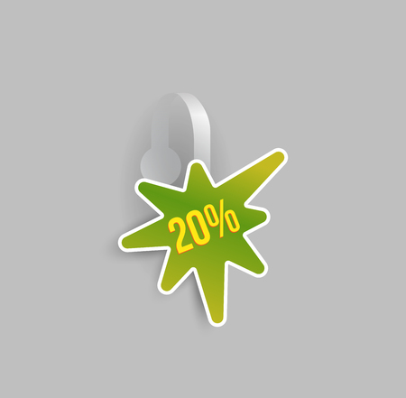 Vector green blob shape wobbler mockup with transparent strip and grey background. Sale message template for your hanging shelf tag design. Illustration
