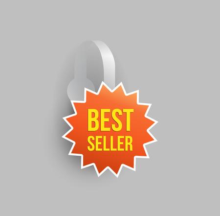 Vector orange star shape wobbler mockup with transparent strip and grey background. Sale message template for your hanging shelf tag design. Illustration