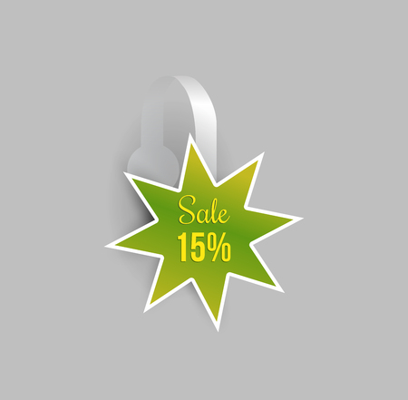 Vector green star shape wobbler mockup with transparent strip and grey background. Sale message template for your hanging shelf tag design.