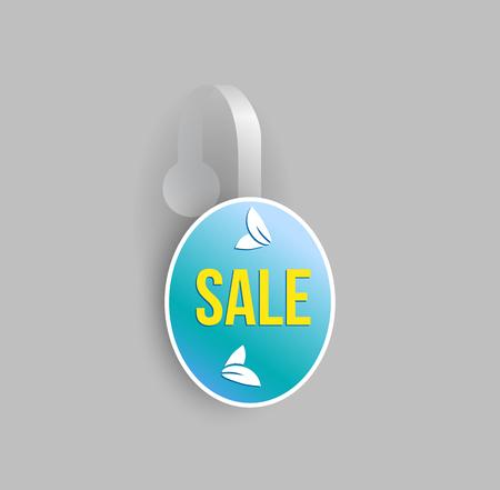 advertising wobbler: Vector blue oval shape wobbler mockup with transparent strip and grey background. Sale message template for your hanging shelf tag design. Illustration