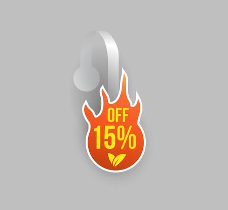 Vector orange fire shape wobbler mockup with transparent strip and grey background. Sale message template for your hanging shelf tag design.