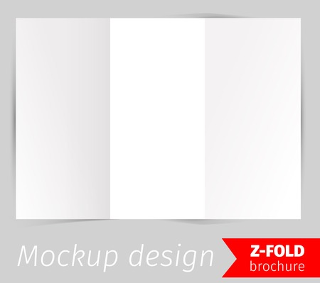 z fold: Z-fold brochure mockup design, blank white paper, realistic rendering, isolated on grey background, copyspace for text, sheet template for menu, booklet or presentation data, vector illustration