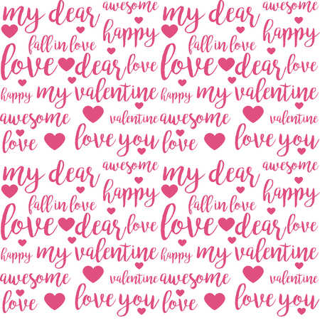 Seamless pattern with pink love hand drawn brush lettering quotes and words for lovers and Valentines day design
