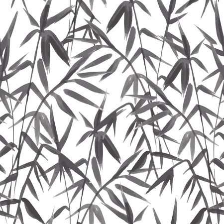 Bamboo seamless pattern on green background in japanese style, light fresh leaves, black and white realistic design, vector illustration