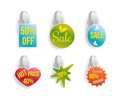 Vector wobbler set with advertising sale text. Sale message template for your hanging shelf tag design. Isolated vector illustration