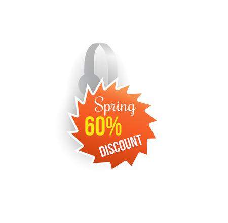 Vector orange wobbler shape mockup with transparent strip isolated on white background. Sale message template for your hanging shelf tag design.