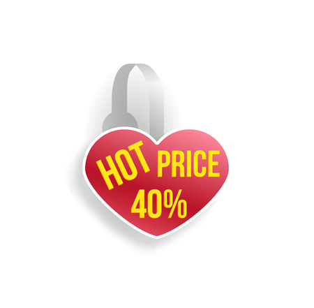 Vector red heart shape wobbler mockup with transparent strip isolated on white background. Sale message template for your hanging shelf tag design. Illustration