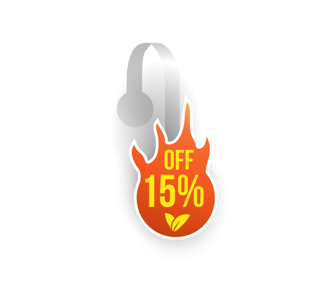 Vector orange fire shape wobbler mockup with transparent strip isolated on white background. Sale message template for your hanging shelf tag design. Illustration