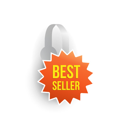 advertising wobbler: Vector orange star shape wobbler mockup with transparent strip isolated on white background. Sale message template for your hanging shelf tag design.