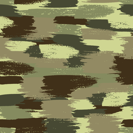 Vector camouflage pattern hand drawn brush illustration. Illustration