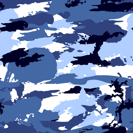 Blue camouflage equipment, seamless pattern Vector for design.