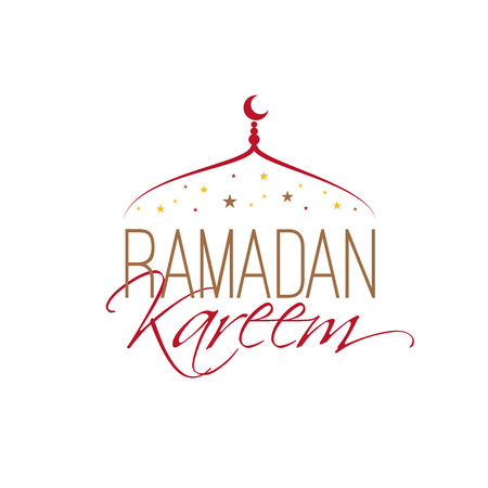 Line art onion-shaped mosque dome with crescent, stars and hand lettering Ramadan Kareem, religious holiday, creative card of arabic culture. Vector illustration