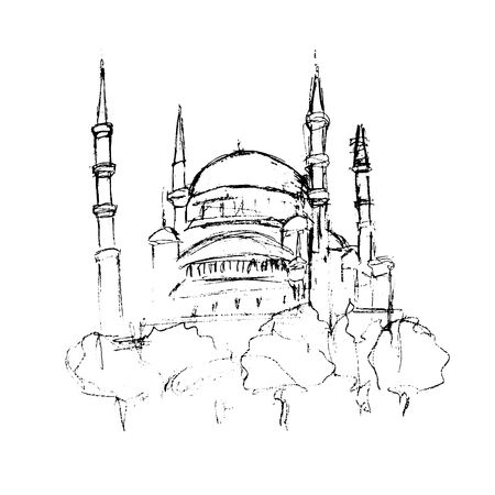 Traditional mosque tower building sketch, for Ramadan Kareem, architecture and culture object handdrawn in black ink or pencil on white background. Vector Illustration Illustration
