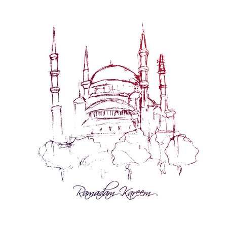 Mosque tower sketch with Ramadan Kareem calligraphy text, traditional festival, architecture silhouette, drawing in purple ink or pencil on white background. Vector Illustration Illustration