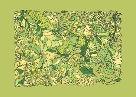springtime: Green spring doodle vector illustration with frame, floral, leaf ornament, decorative forest elements, flower hand drawn creative pattern, horizontal