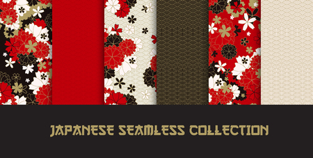 Set of Japanese classic sakura and ornaments seamless patterns for traditional fabric, asian festive design in red, black, white, golden with spring flowers in blossom, vector illustration
