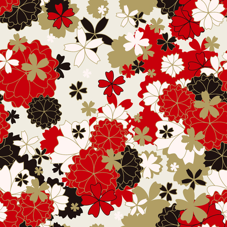 Japanese classic floral seamless pattern, traditional kimono fabric, asian festive design with spring flowers in blossom, vector illustration, red, black, white, golden elements, oriental background Vetores