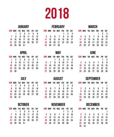 2018 년 달력. 주 일요일, 미국이 시작됩니다. 벡터 지우기 또는 빈 일정 서식 파일 office 및 인쇄