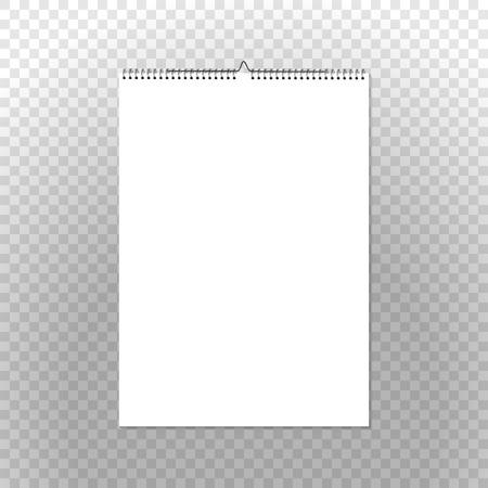 Calendar binder mockup vertical on transparent background. Spiral bound vector wall calendar template for your advertising design.