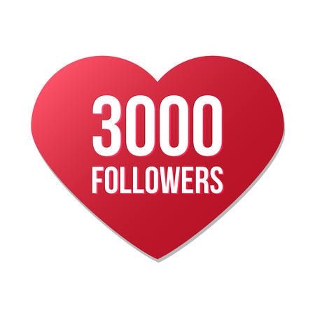 3000 followers red heart logo on white background, gratitude for following and support, happy for reaching three thousand friends. Vector illustration