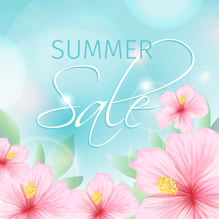 addition: Summer sale poster with pink exotic tropical hibiscus flowers as decorative addition background, summer seasonal discount image for promotion. Vector illustration
