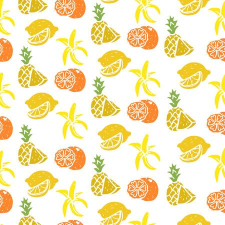 Fruit seamless sketch, banana, lemon, orange, pineapple, fresh, sweet and lively sunny color, vector flat style illustration isolated on white background