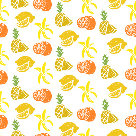 Fruit seamless sketch, banana, lemon, orange, pineapple, fresh, sweet and lively sunny color, vector flat style illustration isolated on white background