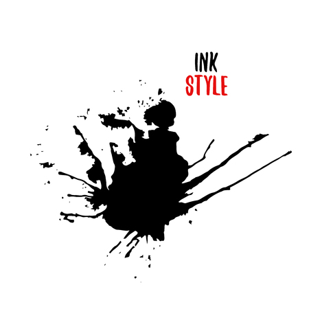 Black blot or splash on white background in ink style. Vector isolated illustration Illustration