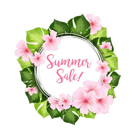 夏のセール サークル バナーまたは緑の葉とピンク ハワイの花のフレーム。現実的なベクトルの夏広告デザインのクリエイティブ イラスト