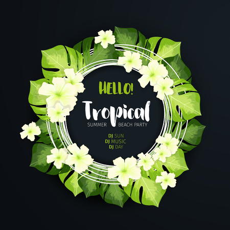 Tropical Beach Party Circle Banner on the dark background. Floral f with green leaves and white flowers. Realistic vector creative illustration for summer advertising design Illustration