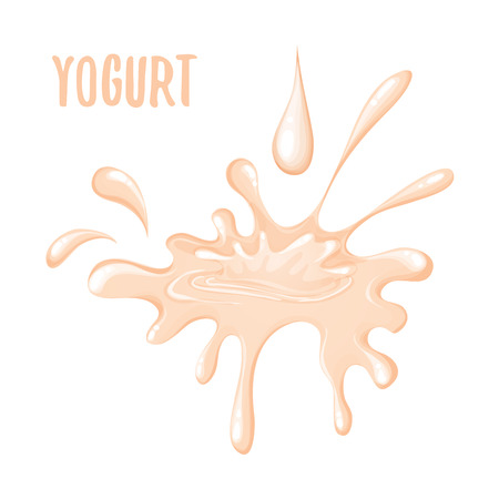 흰색 배경에 핑크 요구르트의 격리 된 스플래시. 흰색 배경에 고립 된 요구르트 스플래시의 벡터 일러스트 레이션
