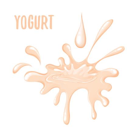 viscosity: Isolated splash of pink yogurt on a white background. Vector illustration of isolated yogurt splash on white background