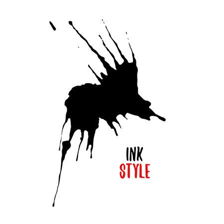 Black blot or splash on white background in ink style. Vector isolated illustration Illustration