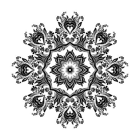 Black round mandala silhouette for calligraphic design. Vector frame isolated on white.
