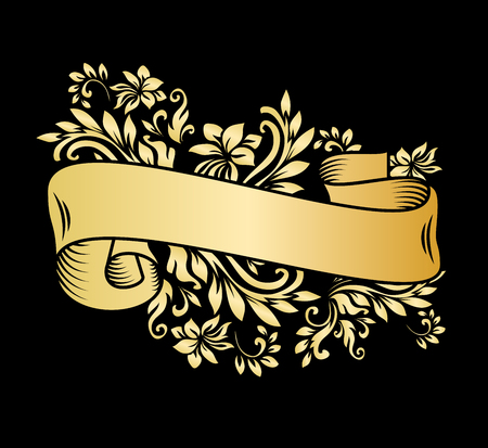 Gold vintage ribbon banner with leaves and flowers, drawing in engraving style. Golden banner ribbon with ornament on the black background. Premium design for greetings, anniversary.