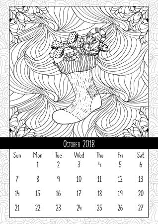 Manopla Con Paisaje Doodle Patrón, Calendario De Agosto De 2018 ...
