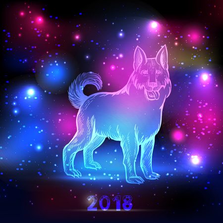 Glowing dog with 2018 New Year inscription.