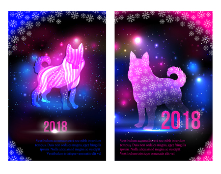 Magic dogs 2018 New Year brochures design for advertising.