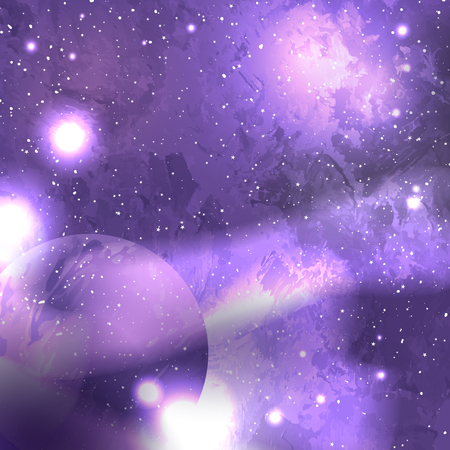 Ultra Violet galaxy space background with planet, starry cosmos. Vector illustration with world outer solar system. Nebula and galaxies in space.