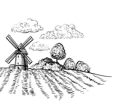 Windmill on agricultural field icon. Vectores