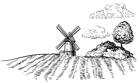 Windmill on agricultural field icon. Illustration