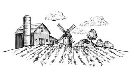 A Farm barn and windmill on agricultural field on background trees rural landscape hand drawn sketch style horizontal illustration. Black and white rural landscape vector illustration
