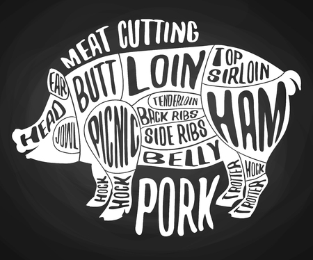 Meat Cutting Pork Black Poster On Chalkboard Cut Of Pig Meat