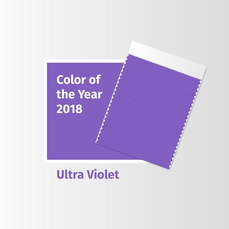ファブリックサンプル、今年のウルトラバイオレット2018色とインテリアデザインムードボードのためのテキスタイルスウォッチテンプレート。トレ  イラスト・ベクター素材