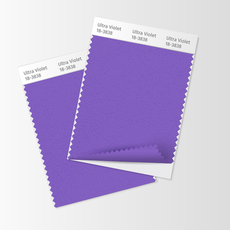 Fabric samples, textile swatch template for interior design mood board with Ultra Violet 2018 Color of the year. Trendy color palette, purple piece of fabric. Vector illustration for blog posts Ilustração