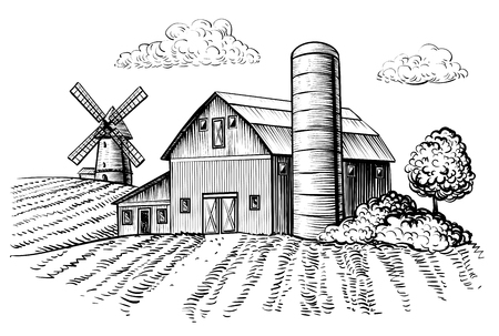 Rural landscape, farm barn and windmill sketch. Hand draw illustration of countryside natural scenic. Agricultural farmhouse and field. Vector monochrome outline image 版權商用圖片 - 92267772